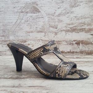 Connie Leather Snakeskin Heeled Sandal
